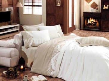Постельное белье из сатина «ADORA», бежевый с белым, евро в интернет-магазине Моя постель