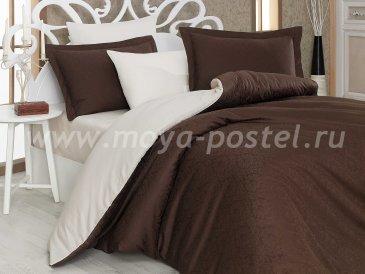 Полуторное постельное белье «DAMASK», сатин-жаккард, коричнево-кремовое в интернет-магазине Моя постель