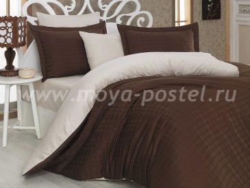 Коричнево-кремовое постельное белье евро размера «EKOSE», сатин-жаккард в интернет-магазине Моя постель