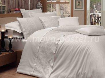 Постельное белье белого цвета «REYNA» с кружевом, сатин, евро в интернет-магазине Моя постель