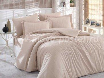Постельное белье евро размера «STRIPE», сатин-жаккард, бежевое в интернет-магазине Моя постель