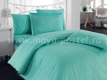 Бирюзовое постельное белье «DIAMOND HOUNDSTOOTH» из бамбука, евро в интернет-магазине Моя постель