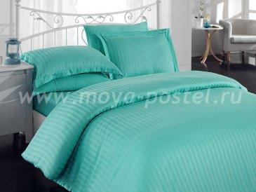 Евро постельное белье из бамбука «DIAMOND STRIPE», зеленое в интернет-магазине Моя постель