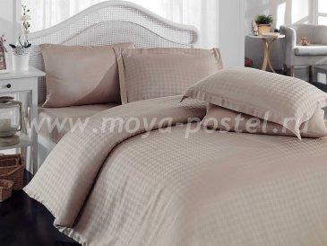 Бежевое постельное белье «DIAMOND HOUNDSTOOTH» из бамбука, евро в интернет-магазине Моя постель