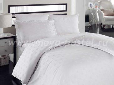 Семейное постельное белье «DIAMOND SPOT» из бамбука, белое в интернет-магазине Моя постель