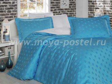 Семейное постельное белье «DIAMOND SPOT» из бамбука, бело-голубое в интернет-магазине Моя постель