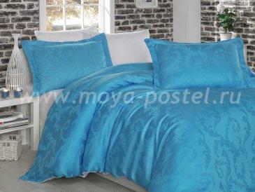 Постельное белье из бамбука «DIAMOND FLOWER», бело-голубое, евро в интернет-магазине Моя постель