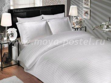 Белое постельное белье «DIAMOND HOUNDSTOOTH» из бамбука, евро в интернет-магазине Моя постель