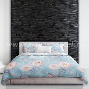 Постельное белье евро размера «Peony blossom» (Цветение пиона), голубое в интернет-магазине Моя постель