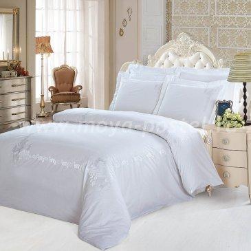 Белое постельное белье Kingsilk RP-11-3 из перкаля, евро в интернет-магазине Моя постель