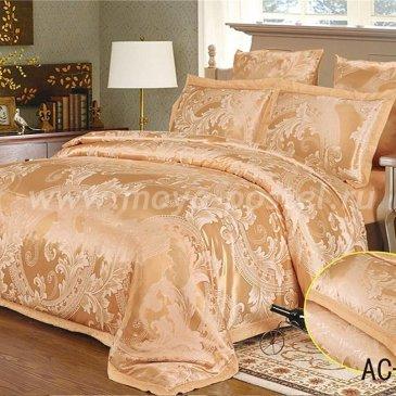 Семейное персиковое постельное белье Arlet AC-098-4 с вышивкой в интернет-магазине Моя постель