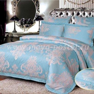 Голубое постельное белье с вышивкой Arlet AC-100-2, двуспальное в интернет-магазине Моя постель