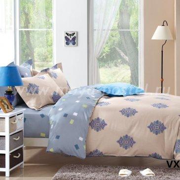 Полуторное двухцветное постельное белье Kingsilk VX-92-1 из сатина, бежевое с голубым в интернет-магазине Моя постель