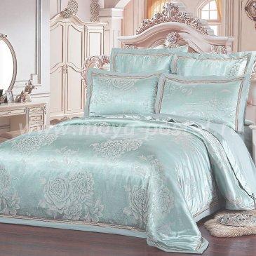 Мятное постельное белье из жаккарда Kingsilk SB-123-3, евро в интернет-магазине Моя постель