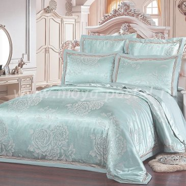 Мятное постельное белье из жаккарда Kingsilk SB-123-5, евро макси в интернет-магазине Моя постель
