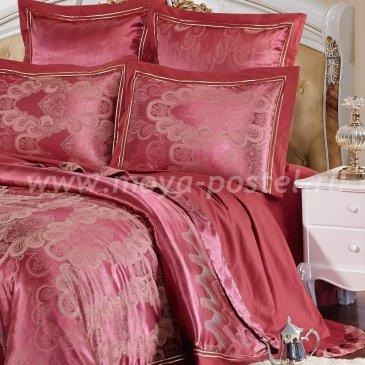 Бордовое постельное белье из жаккарда Kingsilk SB-121-1, полуторное в интернет-магазине Моя постель