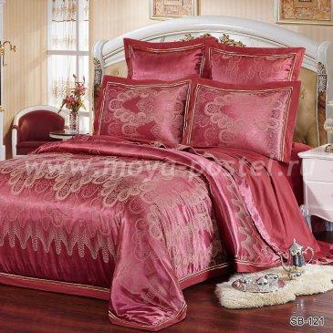 Бордовое постельное белье из жаккарда Kingsilk SB-121-4, семейное в интернет-магазине Моя постель