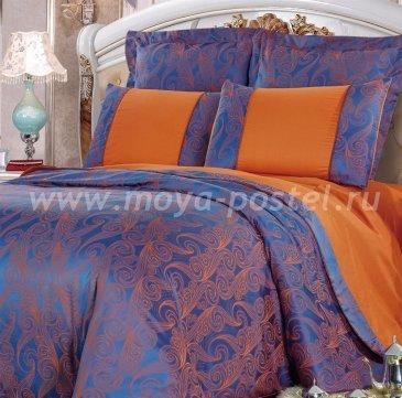Сине-оранжевое двуспальное постельное белье Kingsilk SB-118-2 из жаккарда в интернет-магазине Моя постель