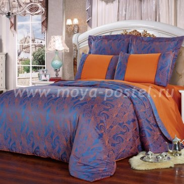 Сине-оранжевое семейное постельное белье Kingsilk SB-118-4 из жаккарда в интернет-магазине Моя постель