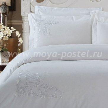 Евро комплект белого постельного белья с вышивкой Kingsilk RP-5-3, перкаль в интернет-магазине Моя постель