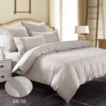 Двуспальное серое постельное белье Kingsilk XR-15-2 с кружевом в интернет-магазине Моя постель