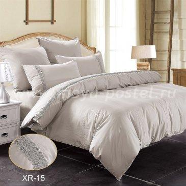 Семейное серое постельное белье Kingsilk XR-15-4 с кружевом в интернет-магазине Моя постель