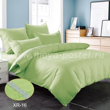 Салатовое постельное белье из сатина с кружевом Kingsilk XR-16-1, полуторное в интернет-магазине Моя постель