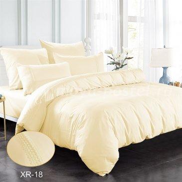 Кремовое постельное белье из сатина с кружевом Kingsilk XR-18-1, полуторное в интернет-магазине Моя постель