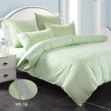 Нежно-зеленое постельное белье из сатина с кружевом Kingsilk XR-19-1, полуторное в интернет-магазине Моя постель