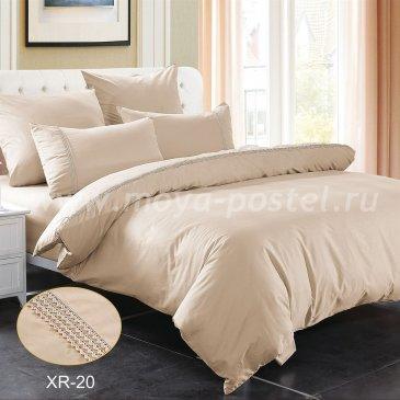 Бежевое постельное белье из сатина с кружевом Kingsilk XR-20-1, полуторное в интернет-магазине Моя постель