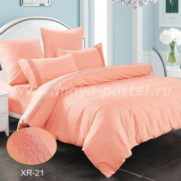 Розовое постельное белье из сатина с кружевом Kingsilk XR-21-4, семейное в интернет-магазине Моя постель