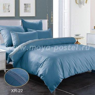 Синее постельное белье из сатина с кружевом Kingsilk XR-22-1, полуторное в интернет-магазине Моя постель