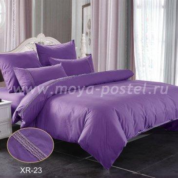 Фиолетовое постельное белье из сатина с кружевом Kingsilk XR-23-1, полуторное в интернет-магазине Моя постель