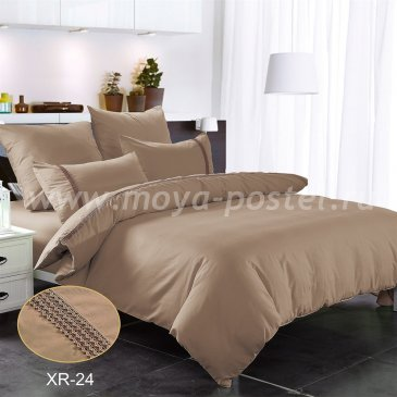 Кофейное постельное белье из сатина с кружевом Kingsilk XR-24-4, семейное в интернет-магазине Моя постель