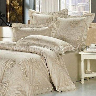 Бежевое двуспальное постельное белье Kingsilk AH-2-2 из жаккарда в интернет-магазине Моя постель