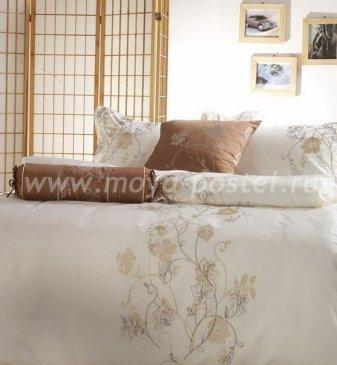 Полутороспальное постельное белье Kingsilk C-22-1 бежевого цвета в интернет-магазине Моя постель