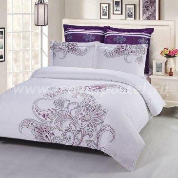 Евро комплект бело-фиолетового постельного белья Kingsilk C-55-3 с вышивкой в интернет-магазине Моя постель