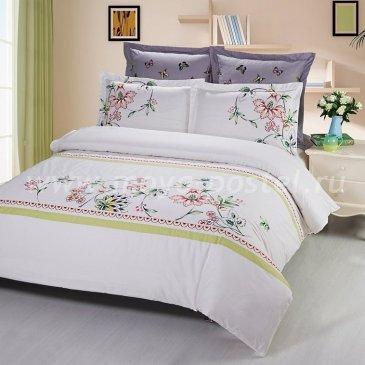 Двуспальное постельное белье Kingsilk C-59-2 из белого сатина с цветочной вышивкой в интернет-магазине Моя постель