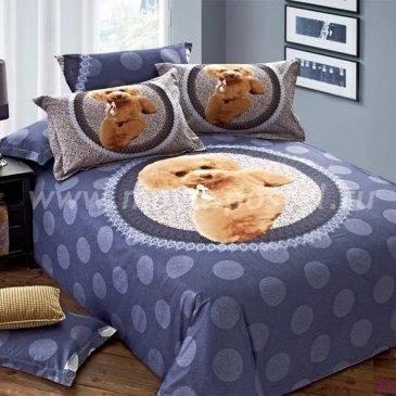 Полуторное синее постельное белье Kingsilk P-20-1 с кружевом и милым принтом в интернет-магазине Моя постель