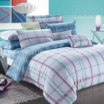 Голубое семейное постельное белье Seda VX-51-4 в клетку в интернет-магазине Моя постель