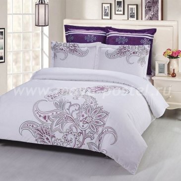 Полуторный комплект бело-фиолетового постельного белья Kingsilk C-55-1 в интернет-магазине Моя постель