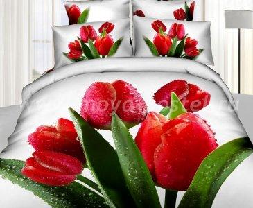 Кпб сатин Семейный 2 наволочки (букет красных тюльпанов) в интернет-магазине Моя постель