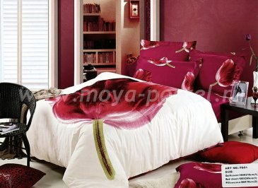 Кпб сатин Семейный 2 наволочки (бордовый тюльпан) в интернет-магазине Моя постель