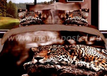 Кпб сатин Евро 2 наволочки (леопард на скале) в интернет-магазине Моя постель