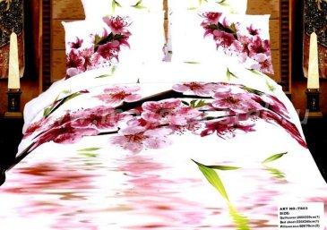 Кпб сатин Евро 2 наволочки (цветы вишни) в интернет-магазине Моя постель