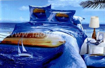 Кпб сатин евро 4 наволочки (парусник в море) в интернет-магазине Моя постель