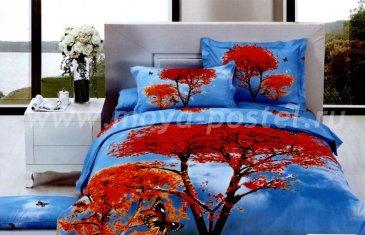 Кпб сатин евро 4 наволочки (осенний пейзаж) в интернет-магазине Моя постель