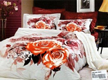 Кпб сатин евро 4 наволочки (оранжевые розы) в интернет-магазине Моя постель