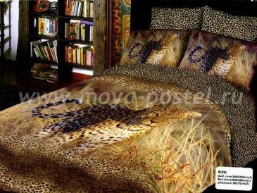 Кпб сатин Евро 2 наволочки (леопард в саванне) в интернет-магазине Моя постель