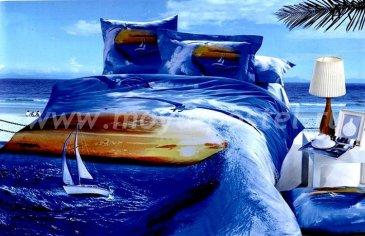 Кпб сатин Евро 2 наволочки (парусник в море) в интернет-магазине Моя постель